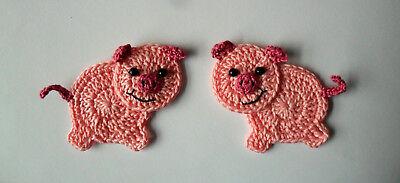 Ferkel Schweinchen Schwein gehäkelt 2x rosa Applikation Dekoration Aufnäher