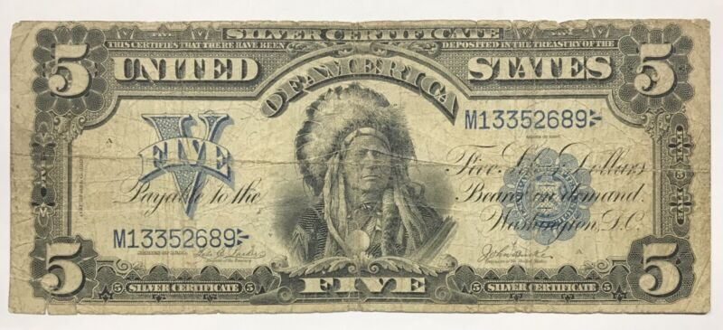 1899 $5 Chief Silver Certificate FR# 277 - VG