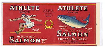 Vintage Can Label Athlete Salmon Chinook WA Chromo Lithograph 1 lb