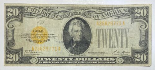 1928 Small $20 Gold Certificate Currency Note Serial #25629771