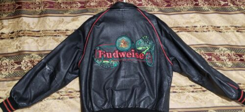 Budweiser Leather Jacket Louie The Chameleon Lizard -  Large