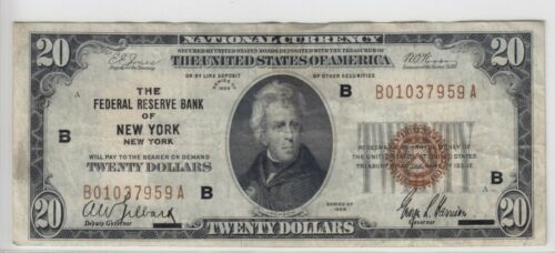 1929 Federal Reserve Bank of New York, NY $20 Note FR#1870B B01037959A