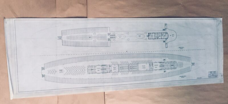 Lambie & Mabry Historic California Naval Architecture, Vellum Ink 52x17 Original