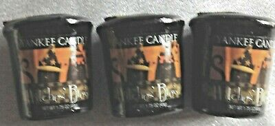 3 Yankee Candle Witches Brew Votive Candles - Cats in Hats Label
