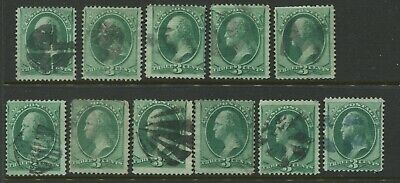 Lot of 11 Scott 136A  Washington I Grill Used Stamps SCV $1100 (Stock 136-LA3)