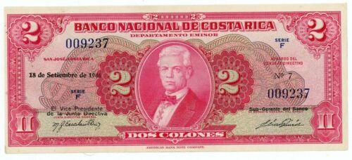 Costa Rica … P-203a … 2 Colones … 18-9-1946 … Choice *AU-UNC* 1St Date