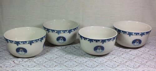 "Folk Craft ""Cameo Snowman"" Soup Cereal Bowls Set of 4"