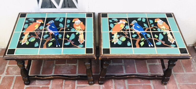 Pair Vintage Mission Birds Monterey Catalina California Taylor Tile Table 1920s