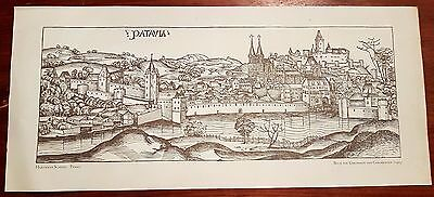 Passau 1493 Hartmann Schedel Lithographie Grafik Zeichnung original vintage
