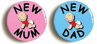 2 x new mum new dad badge button pins (1inch/25mm diameter) baby parenthood gift