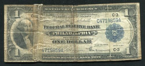1918 $1 ONE DOLLAR FRBN FEDERAL RESERVE BANK NOTE PHILADELPHIA, PA