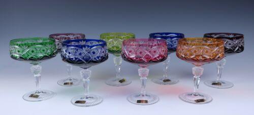 Set 8 Vintage Bohemian Multi Color Cut Crystal Sherbet Champagne Glass Nachtmann