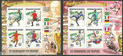 BURUNDI  2014 WORLD CUP SOCCER BRAZIL SET OF TWO COLLECTIVE  SHEETS  MINT NH IMP
