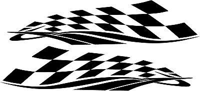 Die Cut Vinyl Checkered Flag 2 Graphic Mirror Image 20 Colors Car Truck #A118