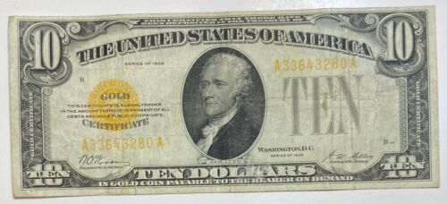 1928 Small $10 Gold Certificate Currency Note Serial #33643280
