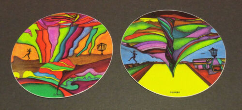 """New--2--4"""" Stickers--""""Disc Golfer in Oz""""-""""The First Disc Golfer"""" Very High Qual"""