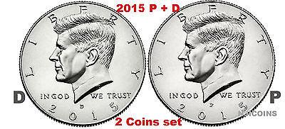 Clad Half Dollars - 2015 Kennedy Half Dollars 2 coins set P + D Clad President 50¢ coin US Mint