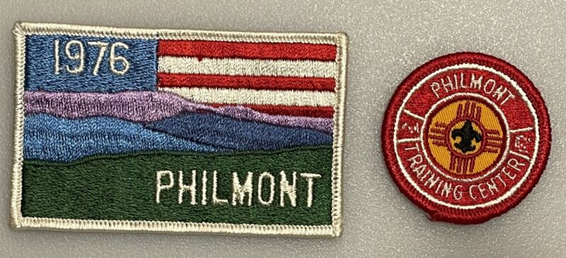 1976 Philmont Scout Ranch Bicentennial Patch And Philmont Training Center Patch