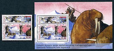 Greenland Sc# 544 & 544a (Souvenir Sheet), MNH, SCV $12.00