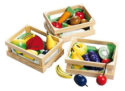 Happy People Holztablett Holzspielzeug Obstkiste Obst Gemüse Kinder Spielzeug