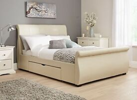 Manhattan Ivory Bonded Leather Upholstered Double Bed Frame with two drawers REDUCED