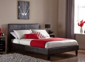 CASH ON DELIVERY!!! LEATHER BED-DOUBLE SIZE FRAME -BLACK-BROWN- WITH MATTRESS
