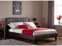 "BRAND NEW ITALIAN LOW FRAME DOUBLE LEATHER BED IN BLACK/BROWN £69, w/ 13"" MEMORY FOAM MATTRESS £179"