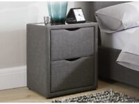 WILSON GREY FABRIC BEDSIDE CABINET BRAND NEW IN BOX DREAMS