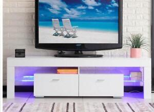 TV Stand High Gloss White Cabinet Console Furniture w/LED Shelves 2 Drawers - BRAND NEW - FREE SHIPPING