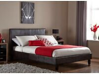 "Double Leather Bed + 9"" Thick Mayfair Mattress -- Same Day Free Delivery -- Brand New --"