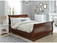 Wood double sleigh bed