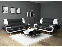 CAROL LEATHER NEW WHITE AND BLACK SOFA AVAILABLE IN 3 AND 2 SEATER SOFA