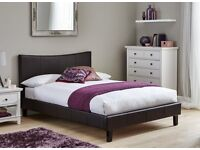 Bed frame double faux leather £130