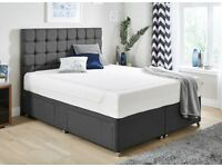 King size Bed Divan Style Bed Base & Big Full Length Cube & Button Headboard BRANDNEW