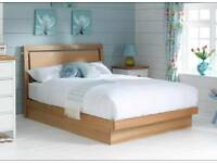 Double storage bed ottoman solid wood