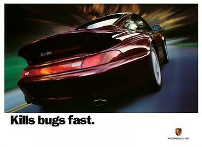 PORSCHE KILLS BUGS FAST AUTOMOBILE CAR AD POSTER PRINT 36X24 FAST FREE SHIPPING