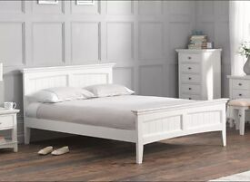DEAMS DOUBLE Bed Frame - WHITE (Mattress available if required)
