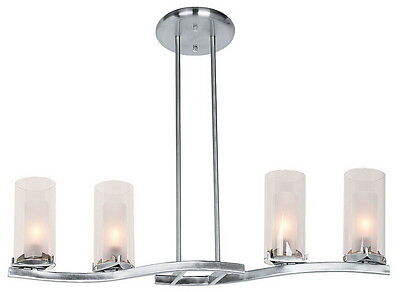 Brushed Steel And Frosted And Clear Glass 4 Light Chandelier