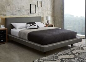King Size - Diaz Grey Faux Leather Bed Frame - Like New