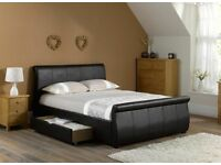 As new real leather super king size brown bed