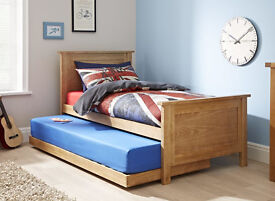 Solid oak wooden single bed with guest unit underneath + two high quality mattresses