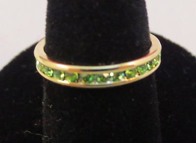SIZE 7 14KT GOLD EP STACKABLE AUGUST PERIDOT WEDDING ETERNITY RING