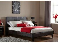 """BRAND NEW Double Leather Bed With 9"""" Semi Orthopaedic Mattress"""