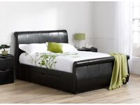 Modern Designer King Size Bed - Bound Leather frame in near new condition with exceptional storage