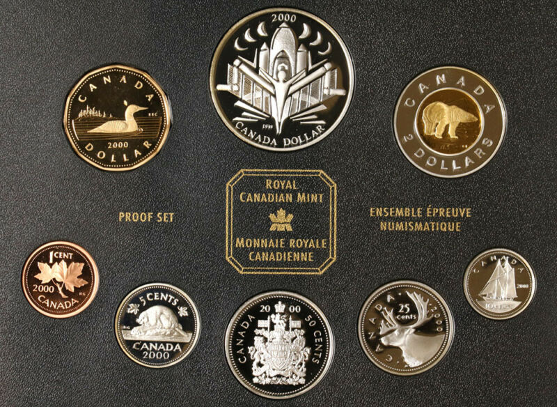 2000 Royal Canadian Mint Silver Proof Set - Voyage of Discovery - 8 Coins OGP