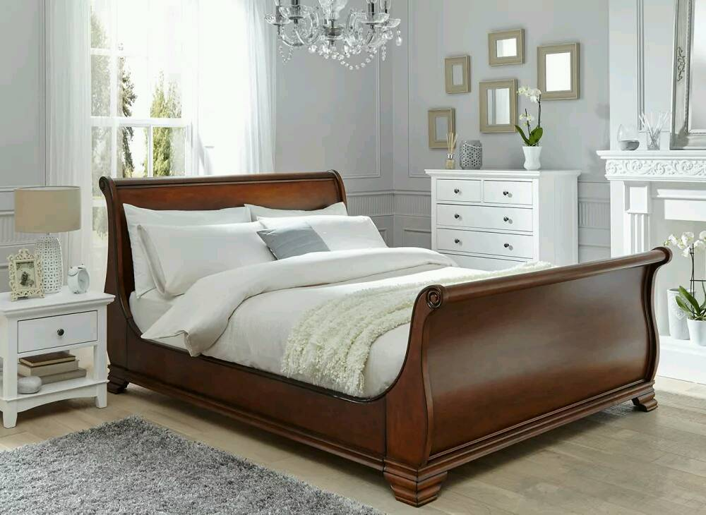 superking orleans walnut wooden bed frame and millbrook zip link mattress