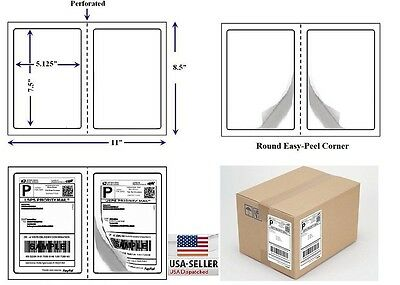 Perforated 1000 Quality Round Corner Shipping Labels 2 Per Sheet 7.5 X 5.125