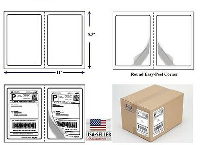2000 Quality Round Corner Shipping Labels 2 Per Sheet 8.5 X 5.5