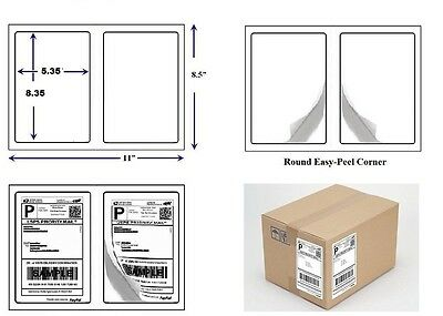 1000 Quality Round Corner Shipping Labels 2 Per Sheet 8.5 X 5.5