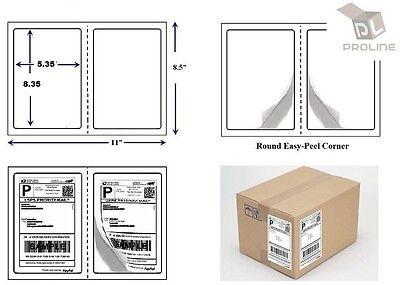 1000 Quality Perforated Round Corner Shipping Labels 2 Per Sheet 8.5 X 5.5